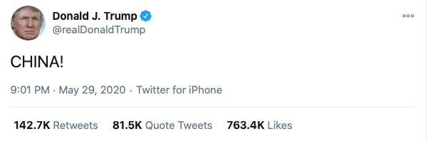 川普簡而有力的推文。